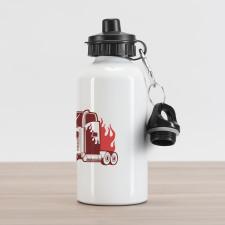 18 Wheeler Silhouette Aluminum Water Bottle