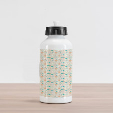 Abstract Art Floral Doodle Aluminum Water Bottle