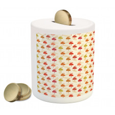 Abstract Autumn Leaf Art Piggy Bank