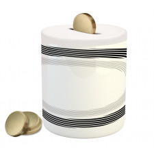 Abstract Art Theme White Piggy Bank