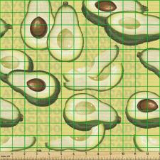 Avokado Parça Kumaş Yazılı Arka Plan Üzerinde Sağlıklı Meyveler