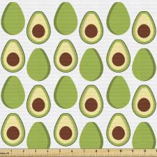 Avokado Parça Kumaş Sağlıklı Meyvenin İçi ve Dışı Tekrarlı