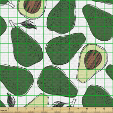 Avokado Parça Kumaş İç ve Dış Yüzü Gözüken Tekrarlı Doğal Meyve