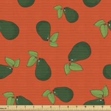 Avokado Parça Kumaş Yaprağıyla Birlikte Sağlıklı Meyve Tekrarlı