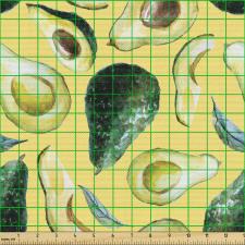 Avokado Parça Kumaş Sulu Boya Tarzında Çizilmiş Sağlıklı Meyve