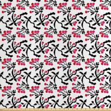 Asya Saten Parça Kumaş Soyut Sanatsal Sakura Çiçeği Dalları Deseni
