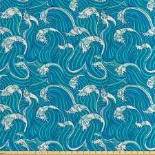 Asya Saten Parça Kumaş Su Kabarcıkları ile Deniz Dalgaları Çizimi