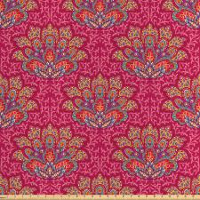 Asya Saten Parça Kumaş Rengarenk Soyut Lotus Çiçeği İllüstrasyonları