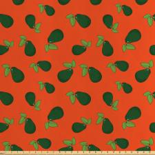 Avokado Saten Parça Kumaş Yaprağıyla Birlikte Sağlıklı Meyve Tekrarlı