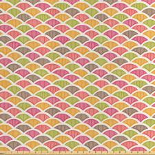 Asya Saten Parça Kumaş Rengarenk Tekrarlı Pullu Desenlerden Görsel
