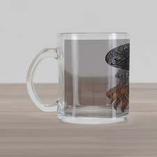 Abstract Art Skull Beard Glass Mug