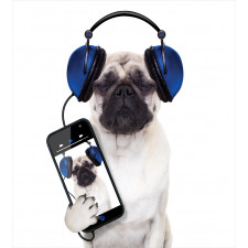 Music Listening Dog Phone Duvet Cover Set