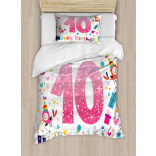 10 Years Kids Birthday Duvet Cover Set