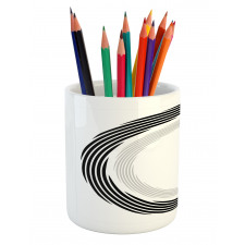 Abstract Art Theme White Pencil Pen Holder