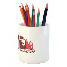 18 Wheeler Silhouette Pencil Pen Holder