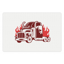 18 Wheeler Silhouette Pet Mat