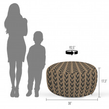 Absürt Puf Dikine Çizgili Nötr Tonlu Geometrik Şekiller