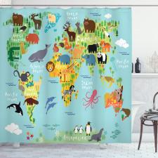 Harita Duş Perdesi Hayvanlar Dünya Denizleri