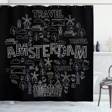 Avrupa Duş Perdesi Amsterdam Simgeleri Modern ve Grafik Çizim