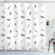 Afrika Duş Perdesi Minimal Tasarımlı Safari Zebra ve Zürafa