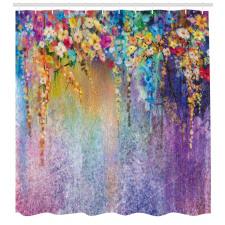 Suluboya Duş Perdesi Bahar Çiçekli Desen