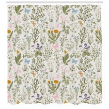 Çiçekli Duş Perdesi Kır Çiçeği ve Kelebek
