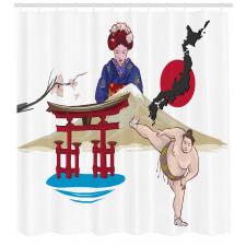 Asya Temalı Duş Perdesi Geyşa ve Sumocu