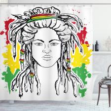 Afrika Duş Perdesi Hippi Kadın Desenli