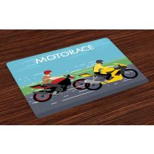 2 Bikers Racing Place Mats