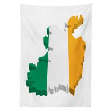 Avrupa Masa Örtüsü İrlanda Haritasına Çizilmiş Bayrak ile İkon