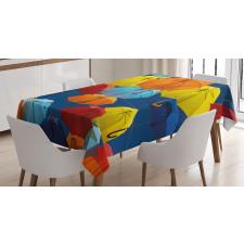 Colorful Umbrellas Sky Tablecloth
