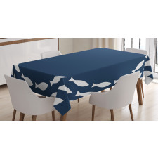 Ocean Navy Fish Circle Tablecloth