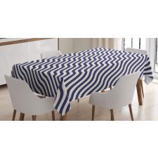 Wavy Stripes Dark Blue Tablecloth