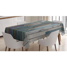 Blue Grey Planks Grunge Tablecloth