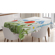 Bloomed Poppy Flowers Tablecloth