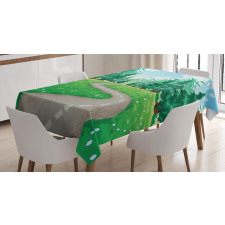 Pathway Among Pine Trees Tablecloth