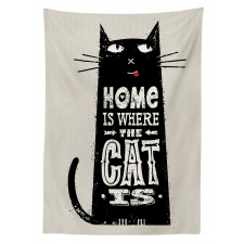 Black Cat Stained Tablecloth