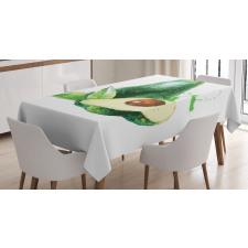 Avokado Masa Örtüsü Sulu Boya Tarzında Açılmış Meyveler Model