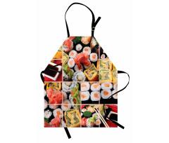 Asya Temalı Mutfak Önlüğü Lezzetli Suşiler