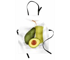 Avokado Mutfak Önlüğü Sağlıklı Meyve ve Suyundan İçecek Model