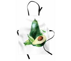 Avokado Mutfak Önlüğü Sulu Boya Tarzında Açılmış Meyveler Model