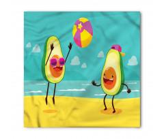 Avokado Bandana Plajda Voleybol Oynayan Sağlıklı Meyveler