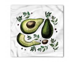 Avokado Bandana Farklı Parçaları Gösterilen Sağlıklı Meyve