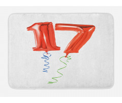 17 Party Red Balloons Bath Mat