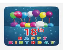 18 Birthday Balloons Bath Mat