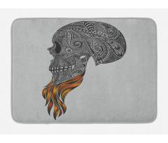 Abstract Art Skull Beard Bath Mat