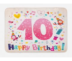10 Years Kids Birthday Bath Mat