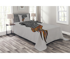 Abstract Art Skull Beard Bedspread Set