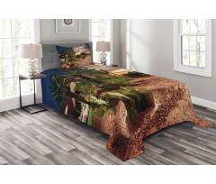 Majestic Sky Palm Trees Bedspread Set
