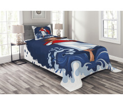 Cartoon Style Man Figure Bedspread Set